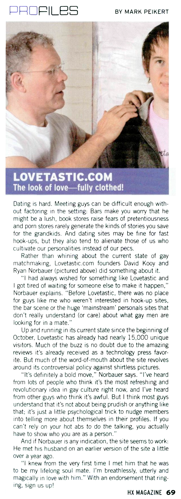 Scanned HX Magazine article on Lovetastic