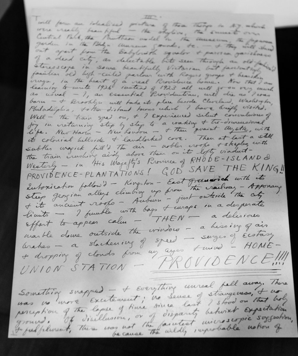 HPL Letter on returning to Providence, photographed at the Providence Athenaeum (from Hay Library collection)